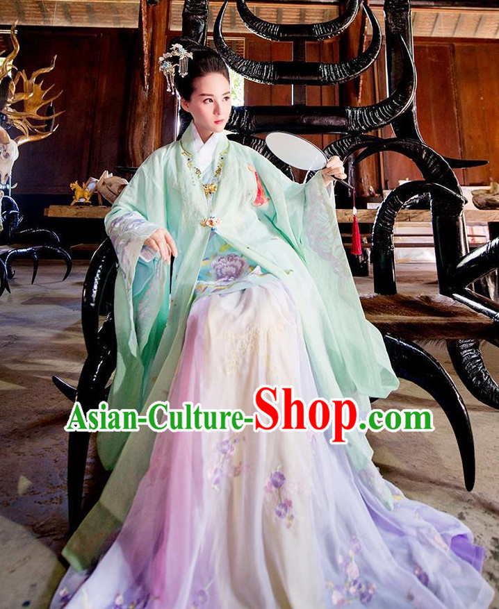 Ancient Chinese Ming Dynasty Princess Empress Queen Embroidered Clothing and Headpieces Complete Set for Women or Girls
