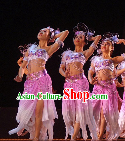 Chinese Classical Dance Costumes and Hair Jewelry Complete Set for Women or Kids