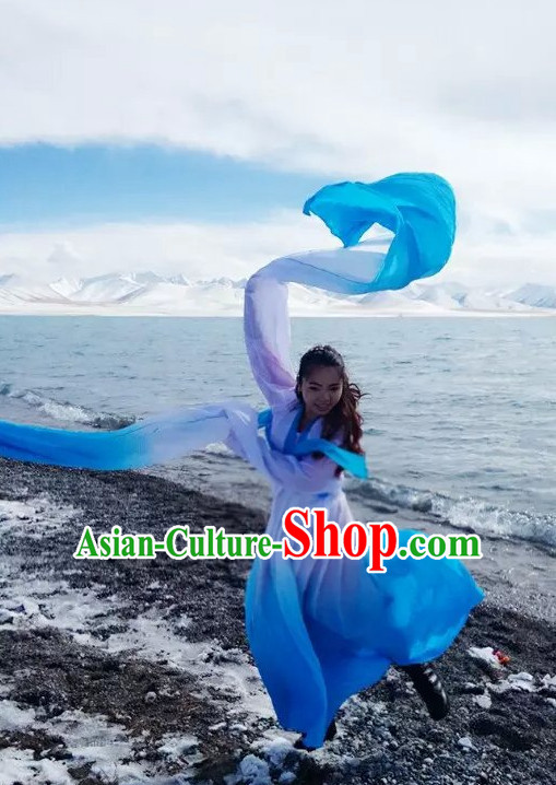 White to Blue Changing Transition Chinese Classical Water Sleeves Long Sleeves Dance Costume for Women or Girls