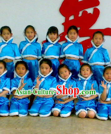 Blue Chinese Classical Folk Dance Costumes for Kids
