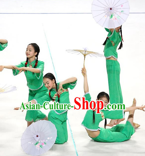 Green Chinese Classical Umbrella Dance Costumes for Women or Kids