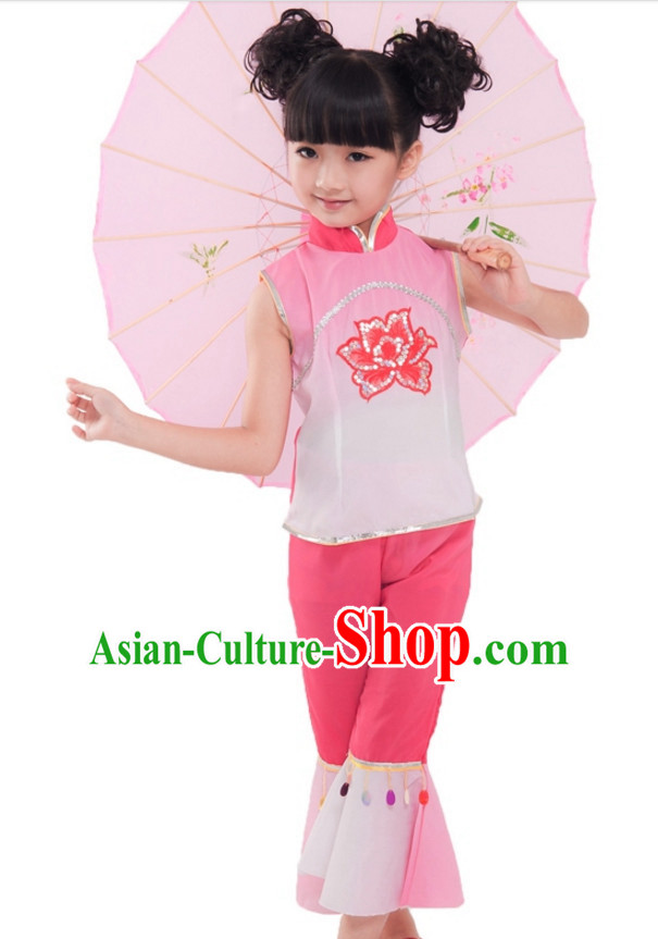 Chinese Traditional New Year Dancing Costumes for Girls Kids Children