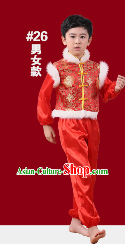 Chinese Traditional New Year Dance Suits for Boys Kids Children