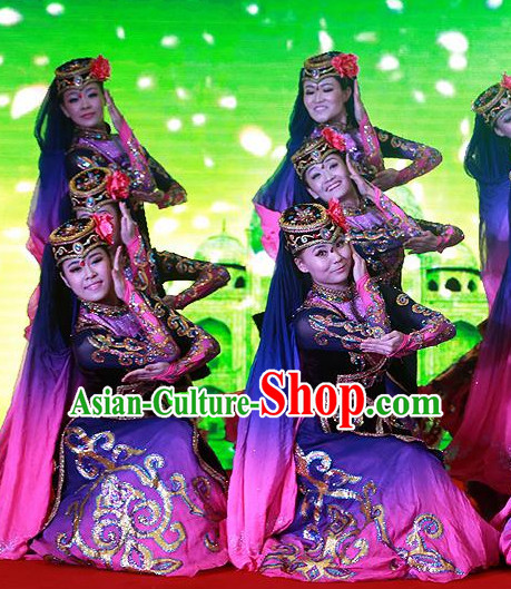 Chinese Folk Ethnic Xinjiang Dance Costumes and Headpieces for Women