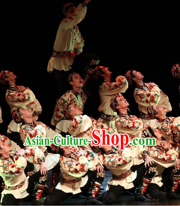 Chinese Folk Dance Costume and Headpieces for Men