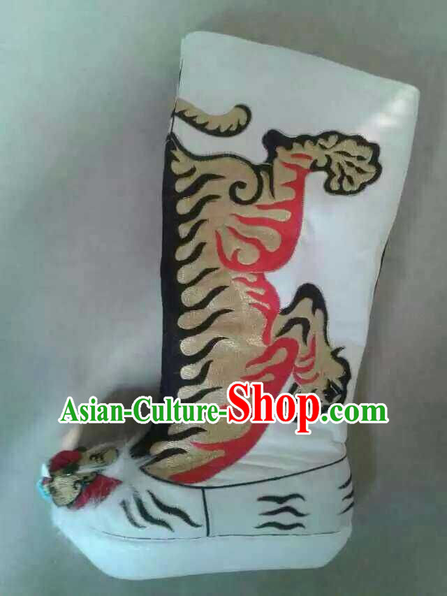 Traditional Chinese Ancient White Embroidered Tiger Boots for Men