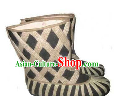 Ancient Chinese Film Handmade Boots for Men Boys Adults Children