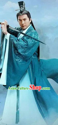 Ancient Chinese Swordsman Clothing and Hair Jewelry Complete Set for Men