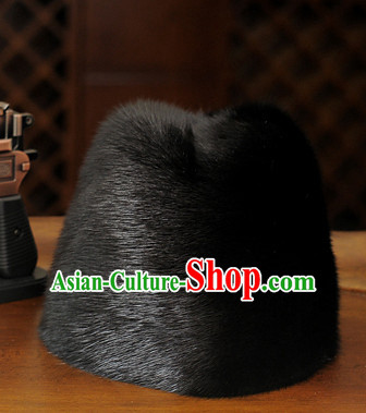 Top Traditional Chinese Black Fur Hat for Men