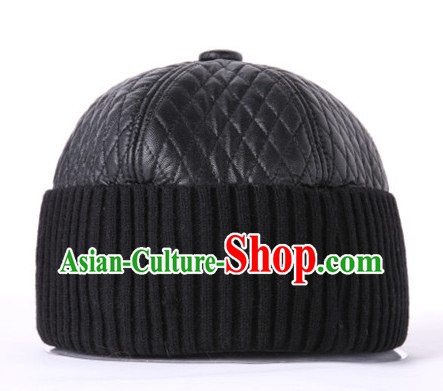 Top Traditional Chinese Black Leather Hat for Men