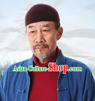 Traditional Chinese Handmade Dark Red Hat for Men