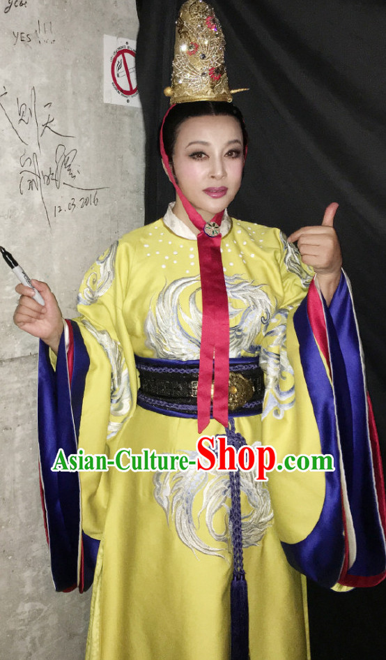 Ancient Chinese Female Emperor Long Robe and Coronet Complete Set