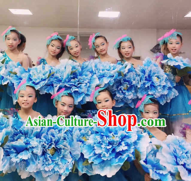 0.6 Meter Blue Large Chinese Peony Flower Dance Props for Adults or Kids