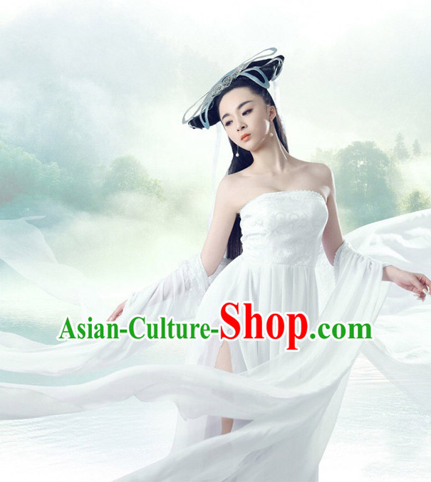 Chinese Ancient Fairy Costume and Hair Jewelry Complete Set for Women