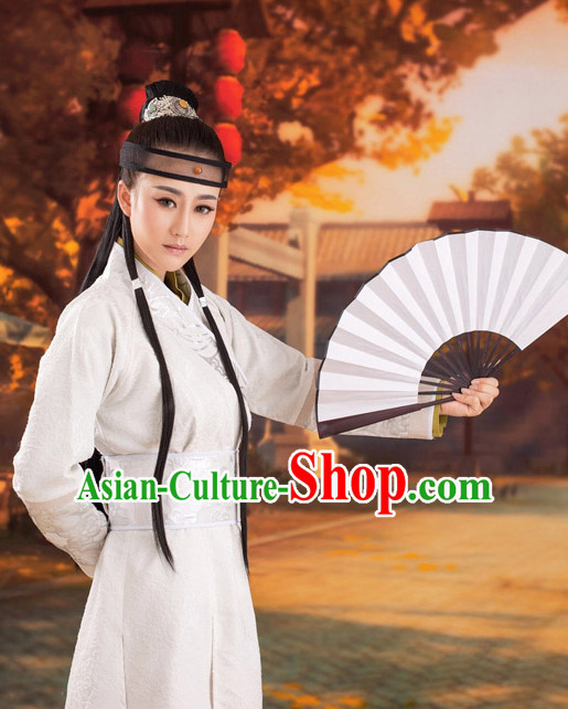 Chinese Ancient Hanfu Dresses and Headdress Complete Set for Women and Men