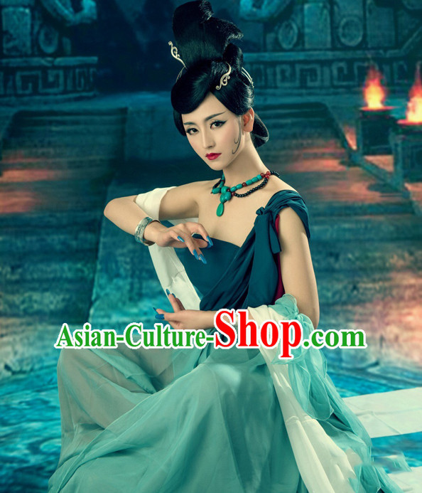 Chinese Ancient Fairy Costumes and Hair Jewelry Complete Set for Women