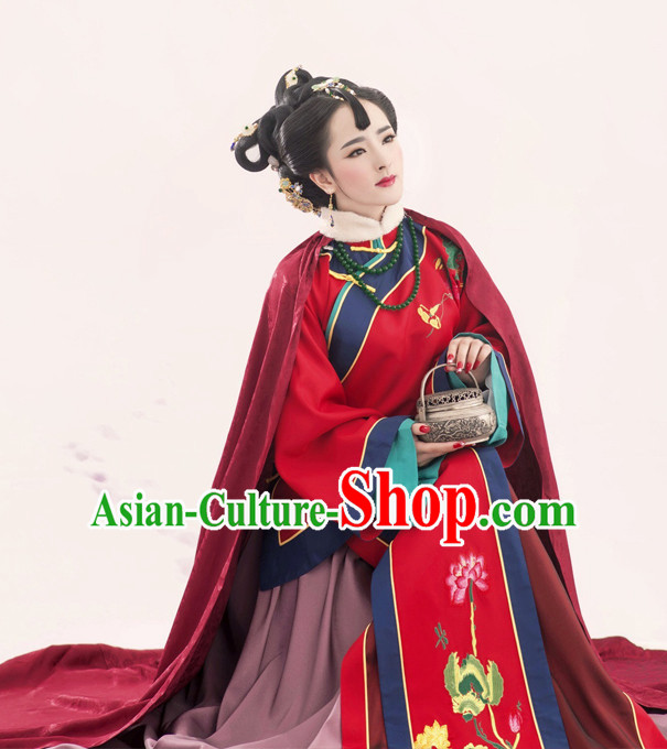 Chinese Ancient Wedding Dresses Mantle and Hair Jewelry Complete Set for Women
