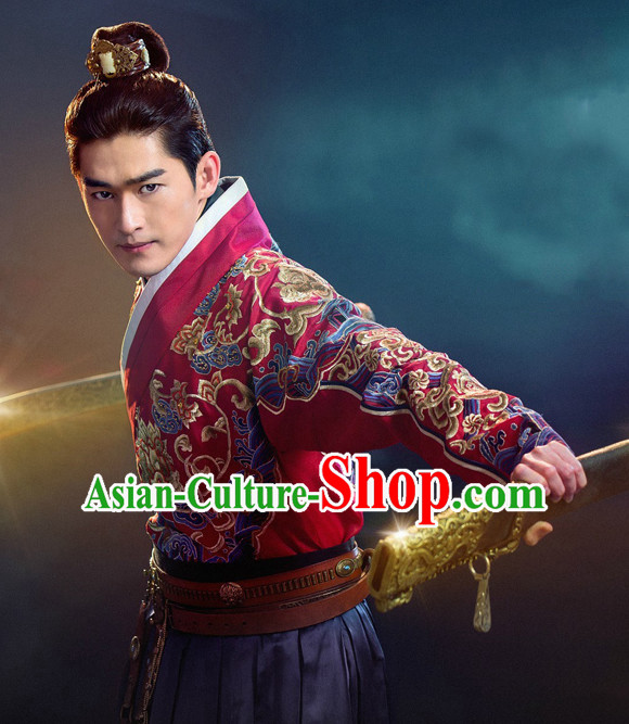 Chinese Ancient Swordsman Knight Costume Complete Set for Men Youth Teenagers Kids