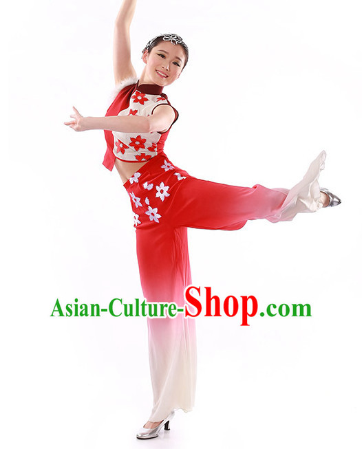Chinese Traditional Fan Group Dancing Costumes and Headdress Complete Set for Women