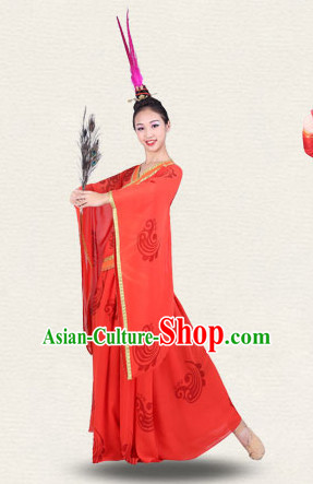 Chinese Imperial Palace Classical Dance Costumes Dancewear and Headpieces Complete Set for Women
