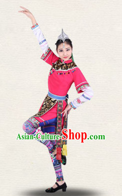 Chinese Traditional Classical Ethnic Dance Costumes Dancewear and Headpieces Complete Set for Women