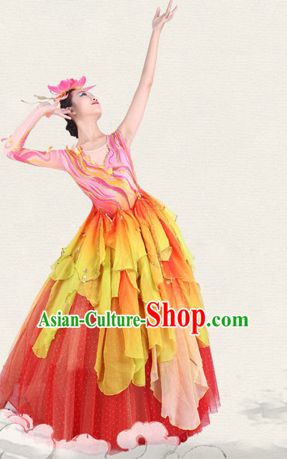 Chinese Traditional Classical Opening Ceremony Dance Costumes Dancewear and Headpieces Complete Set for Women