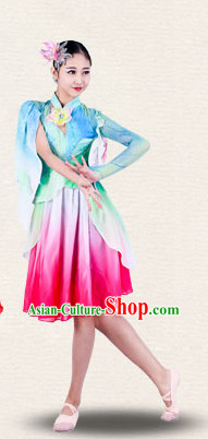 Chinese Traditional Classical Group Dance Costumes Dancewear and Headpieces Complete Set for Women
