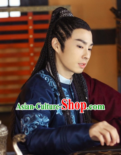 Ancient Chinese Black Wig Wigs and Hair Accessories for Men