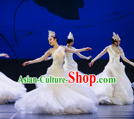 Chinese Professional Stage Dancing Costumes and Headpieces Complete Set for Women