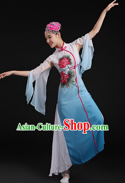Chinese Lotus Classical Dancing Costume and Headdress Complete Set for Women or Girls