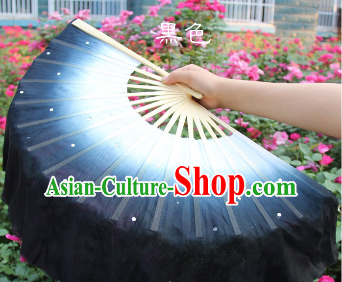 White to Black Color Transition Traditional Chinese Pure Silk Dance Fan