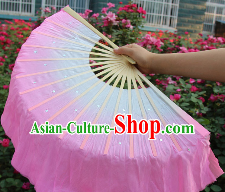White to Pink Color Transition Traditional Chinese Pure Silk Dance Fan