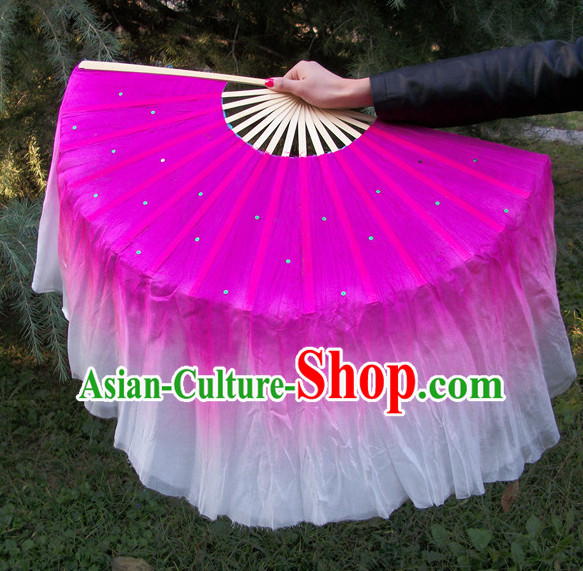 Two Sides 100_ Pure Silk Professional Dancing Fan for Women Men Adults