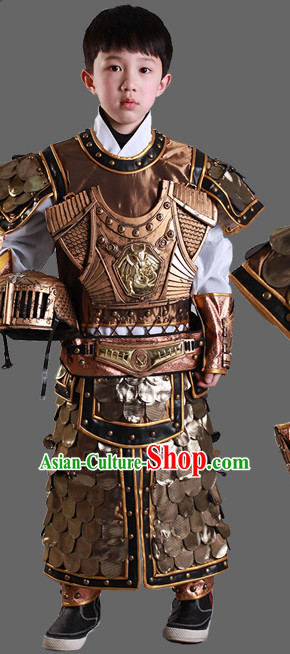 Ancient Chinese Warrior Solider General Armor Costumes and Hat Complete Set for Kids Children