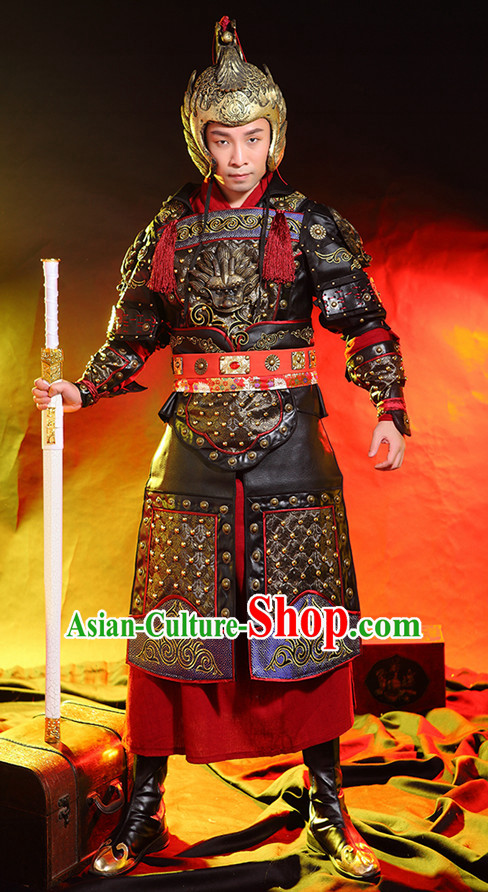 Ancient Chinese Knight Superhero General Armor Costumes and Hat Complete Set for Men