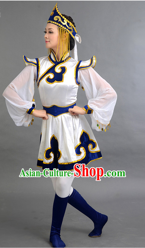 Traditional Chinese Ethnic Mongolian Dance Costumes Custom Dance Costume Folk Dancing Chinese Dress Cultural Dances and Headdress Complete Set
