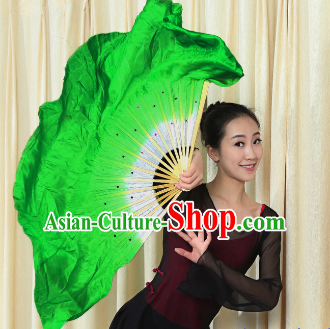 Professional Traditional Two Colors White to Green Color Transition Pure Silk Dance Fan