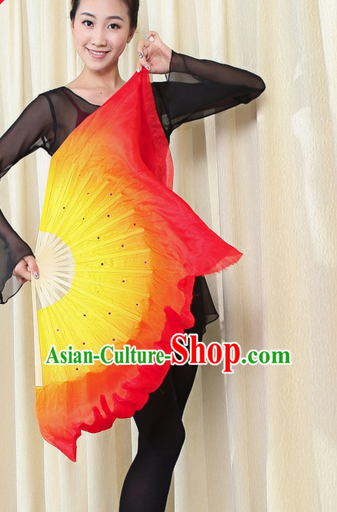 Traditional Chinese Folk Dance Silk Fan Fire Color