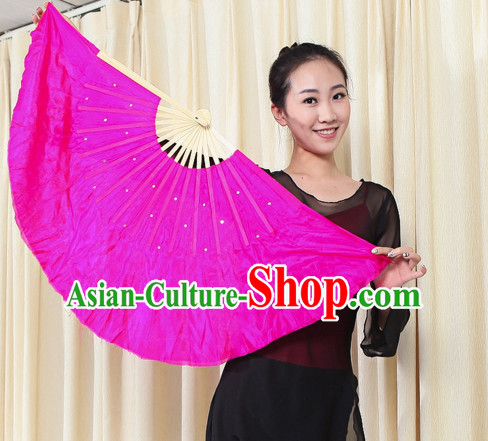 Traditional Chinese Pure Silk Dance Fan with Sequins