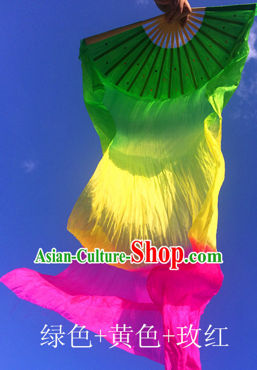 Pure Silk Color Transition Changing Competition Chinese Dance Fan Cultural Fans