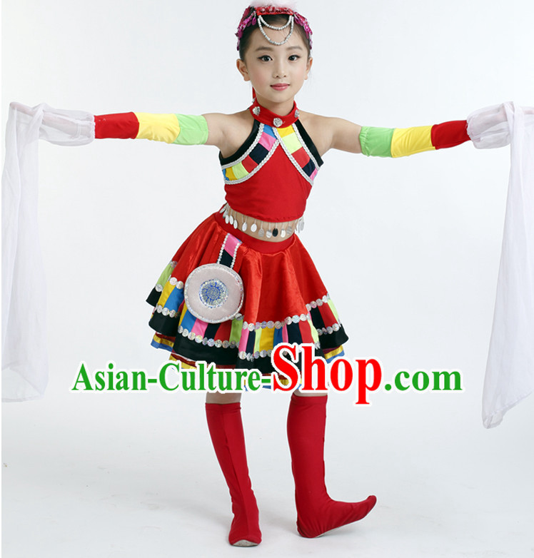 Chinese Competition Tibetan Dance Costumes Kids Dance Costumes Folk Dances Ethnic Dance Fan Dance Dancing Dancewear for Children