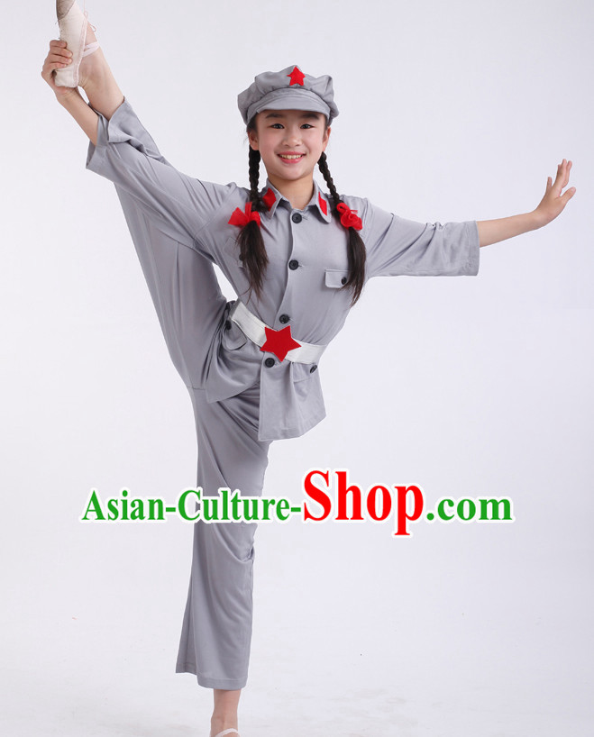 Chinese Competition Army Dance Costumes Kids Dance Costumes Folk Dances Ethnic Dance Fan Dance Dancing Dancewear for Children