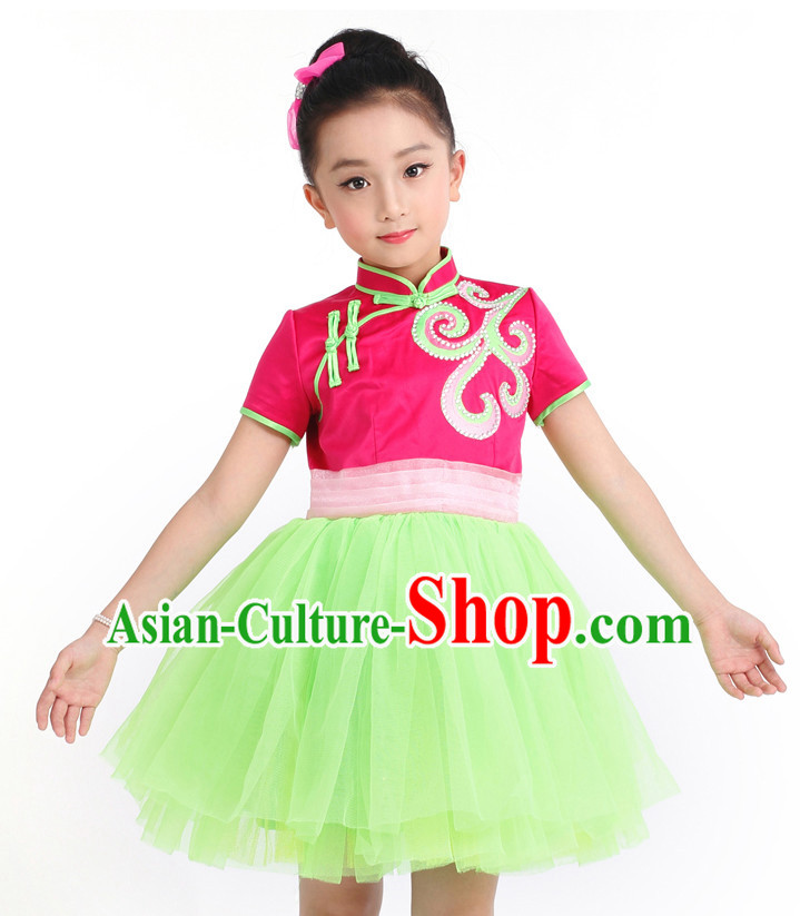 Chinese Competition Girls Dance Costumes Kids Dance Costumes Folk Dances Ethnic Dance Fan Dance Dancing Dancewear for Children