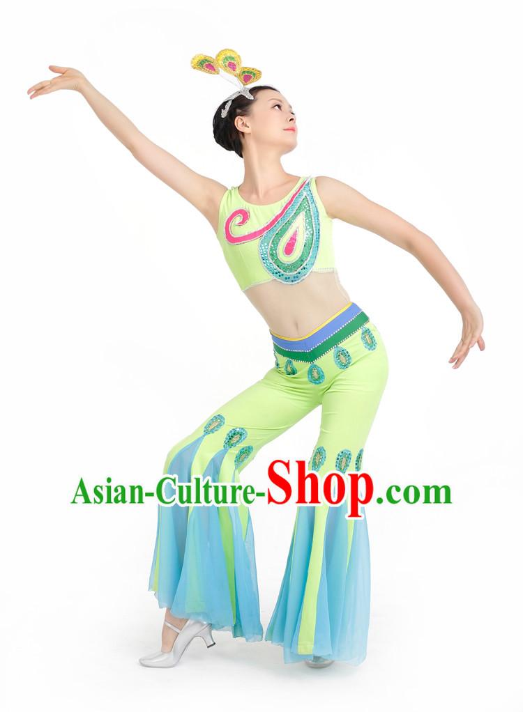 Chinese Competition Stage Peacock Dance Costumes Female Dance Costumes Folk Dances Ethnic Dance Fan Dance Dancing Dancewear for Women