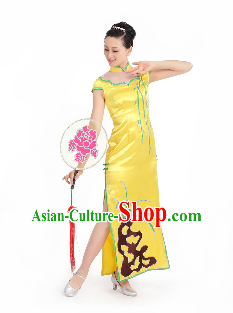 Chinese Competition Stage Classical Cheongsam Dance Costumes Female Dance Costumes Folk Dances Ethnic Dance Fan Dance Dancing Dancewear for Women