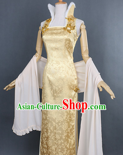 Traditional Chinese Style Long Sexy Cheongsam Cosplay Dress for Women