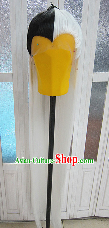 Chinese Traditional Swordsmen Wig Ancient Men Wigs Ladies Wigs White Black Wigs Male Lace Front Wigs Custom Hair Pieces
