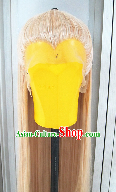 Chinese Traditional Swordsmen Wig Ancient Men Wigs Ladies Wigs White Wigs Male Lace Front Wigs Custom Hair Pieces