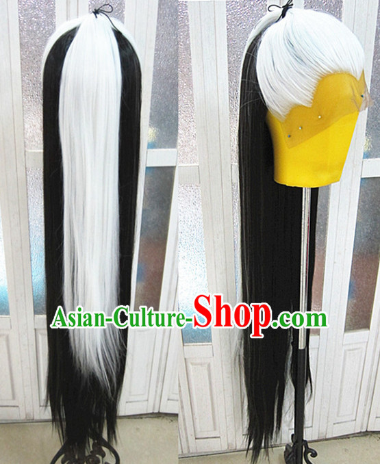 White Black Chinese Traditional Scholar Swordsmen Wig Ancient Knight Men Wigs Ladies Wigs Male Lace Front Wigs Custom Hair Pieces