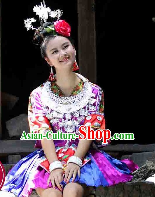 Chinese Folk Miao Ehtnic Clothing for Women
